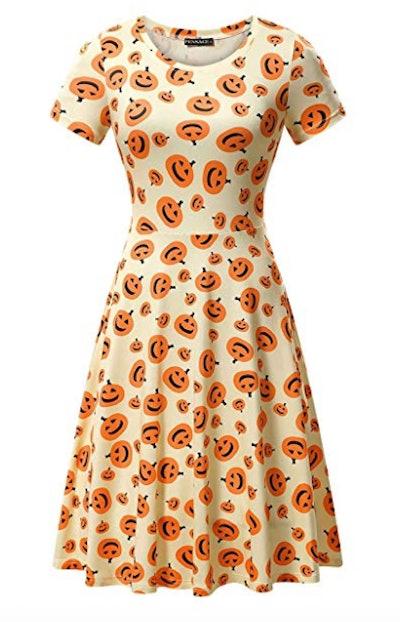 FENSACE Womens Short Sleeves Casual A-line Halloween Pumpkin Dress