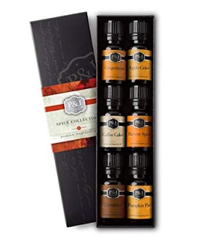 P&J Trading Spice Set of 6 Premium Grade Fragrance Oils - Cinnamon, Harvest Spice, Apple Cider, Coffee Cake, Gingerbread, Pumpkin Pie