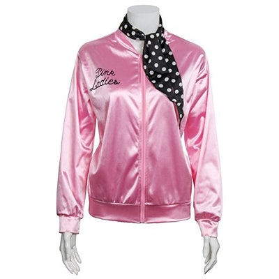Pink Satin Jacket With Neck Scarf