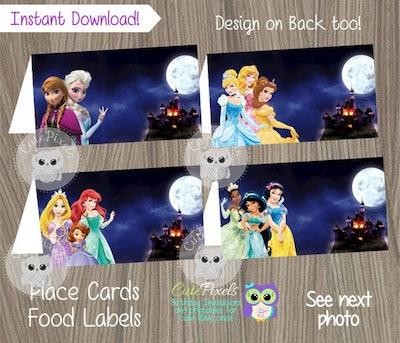 Disney Princess Halloween Place Cards