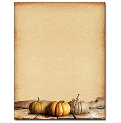 Fall Pumpkins Autumn Letterhead Paper