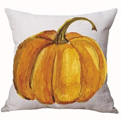 Autumn Happy Fall Y'all Pumpkin Watercolor Cotton Linen Throw Pillow