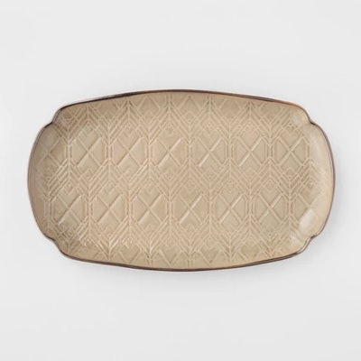"Cravings by Chrissy Teigen 13.75"" Oval Stoneware Debossed Platter Tan"