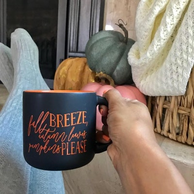 Fall Breeze, Autumn Leaves, Pumpkins Please Coffee Mug