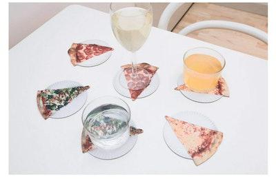 Kikkerland Pizza Coasters (Set of 12), Mulitcolor