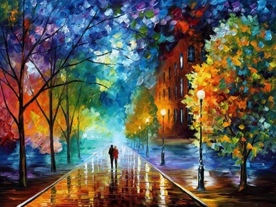 Tonzom Paint-By-Numbers Romance Under Umbrella