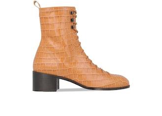 Bota Croco Beige Leather