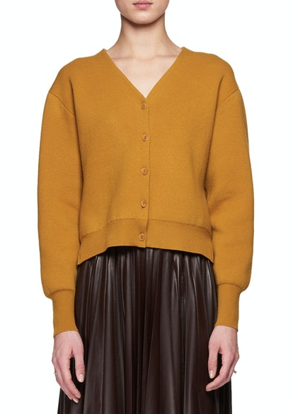 Nesta V-Neck Button-Front Merino Wool Cashmere Cardigan