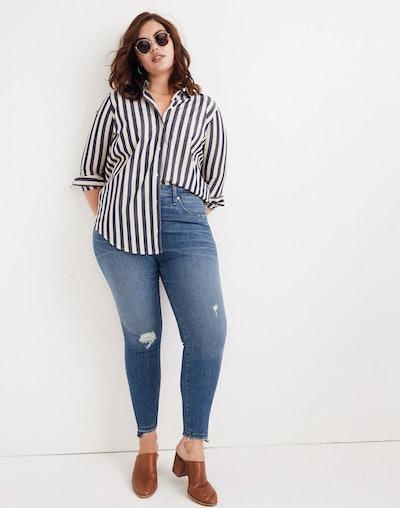 Curvy High-Rise Skinny Jeans: Drop Step-Hem Edition