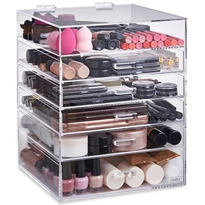 Beautify Extra Large 6 Tier Clear Acrylic Cosmetic Makeup Storage Cube Organizer with 5 Drawers