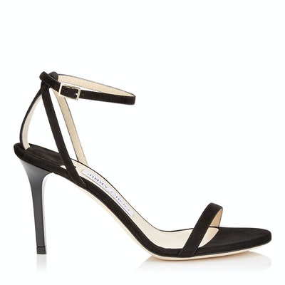 Minny 85 Black Suede Sandals