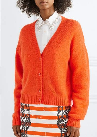 Cropped mohair-blend cardigan