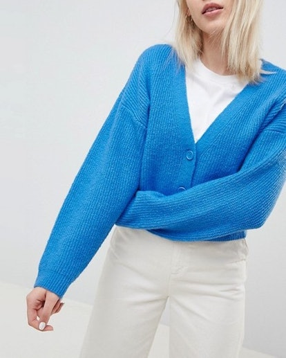 Eco Cropped Cardigan in Fluffy Yarn with Buttons