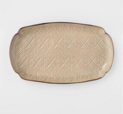 Oval Stoneware Debossed Platter