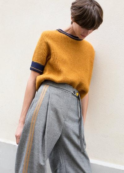 Ginger & Navy Short Sleeve Knit Sweater