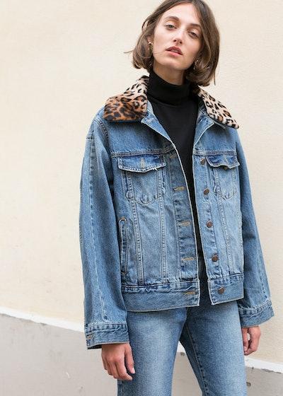 Blue Denim & Leopard Jacket