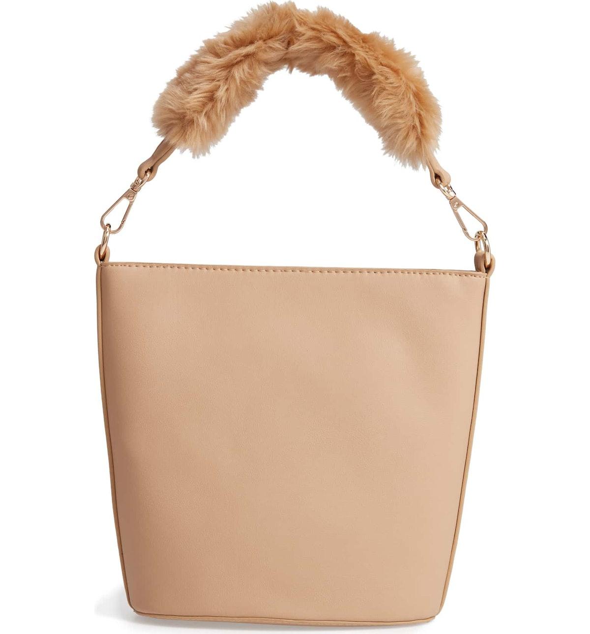 Faux Fur Handle Medium Crossbody Bag