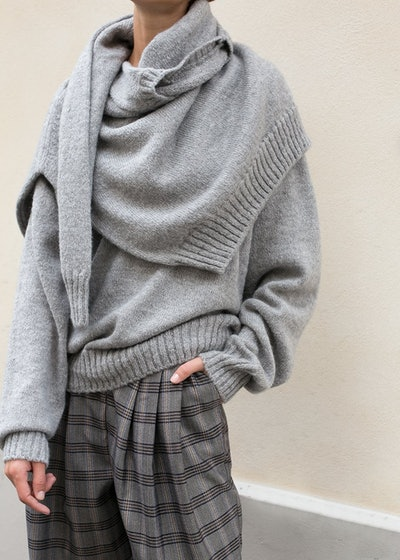 Heather Grey Attached Double Sweater
