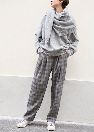 Grey Herringbone Plaid Baggy Pants