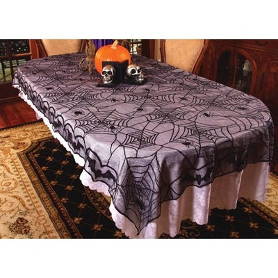 """48"""" x 96"""" Lace Spider Web Table Cloth Halloween Decoration"""