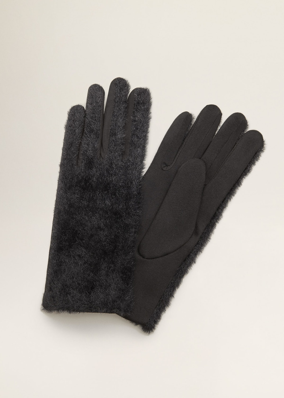 Faux Fur Combined Gloves
