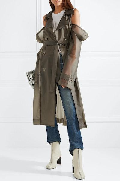 Zip-Detailed Matte-PVC Trench Coat