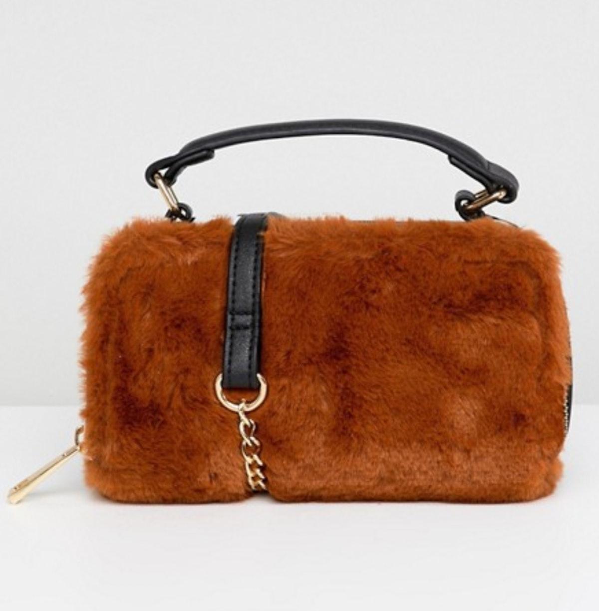 ASOS DESIGN camera bag with faux fur detail