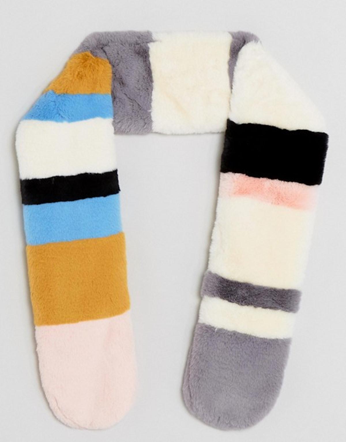ASOS Multi Stripe Faux Fur Scarf