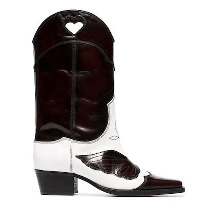 White And Dark Brown Marlyn 45 Leather Cowboy Boots