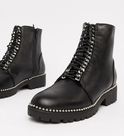 Truffle Collection Chunky Lace Up Ankle Boots