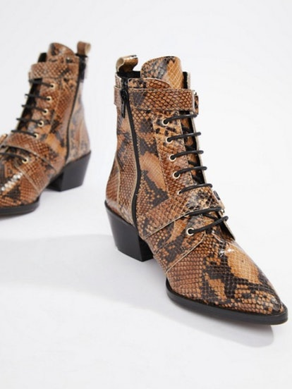 Office Ambassador leather snake lace up two buckle ankle boots