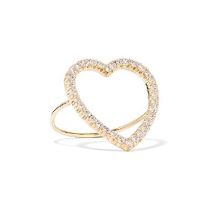 Diamond Large Open Heart Ring