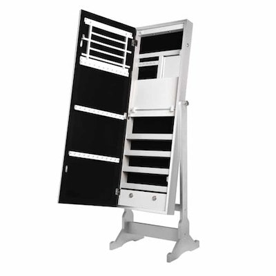 Adelyn Silver Full Length Jewelry Cheval Armoire - Makeup Storage