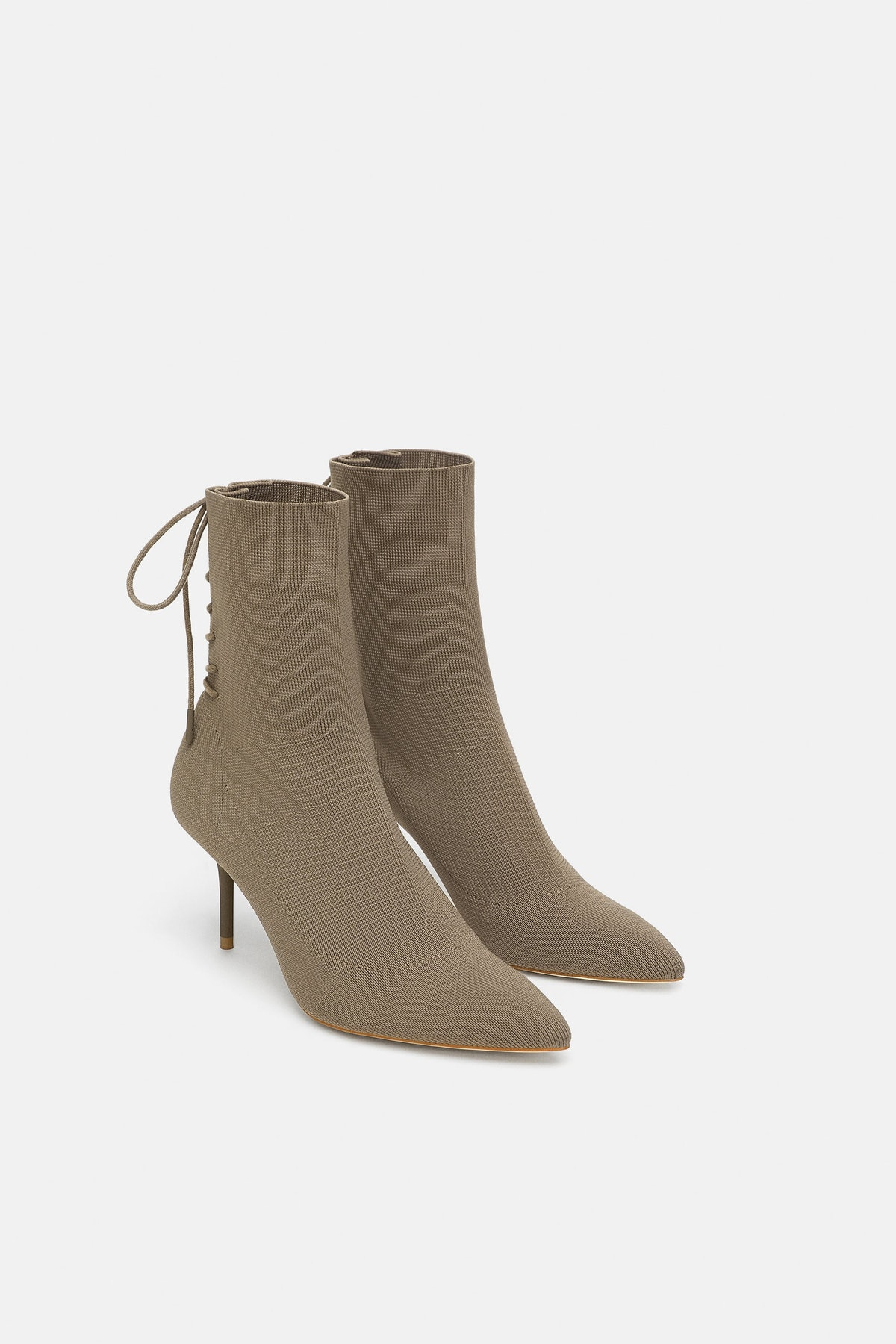 LACED HIGH-HEEL ANKLE BOOTS