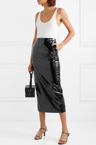 Night Textured-Vinyl Midi Pencil Skirt