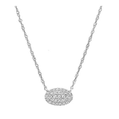 Diamond Oval Cluster Necklace