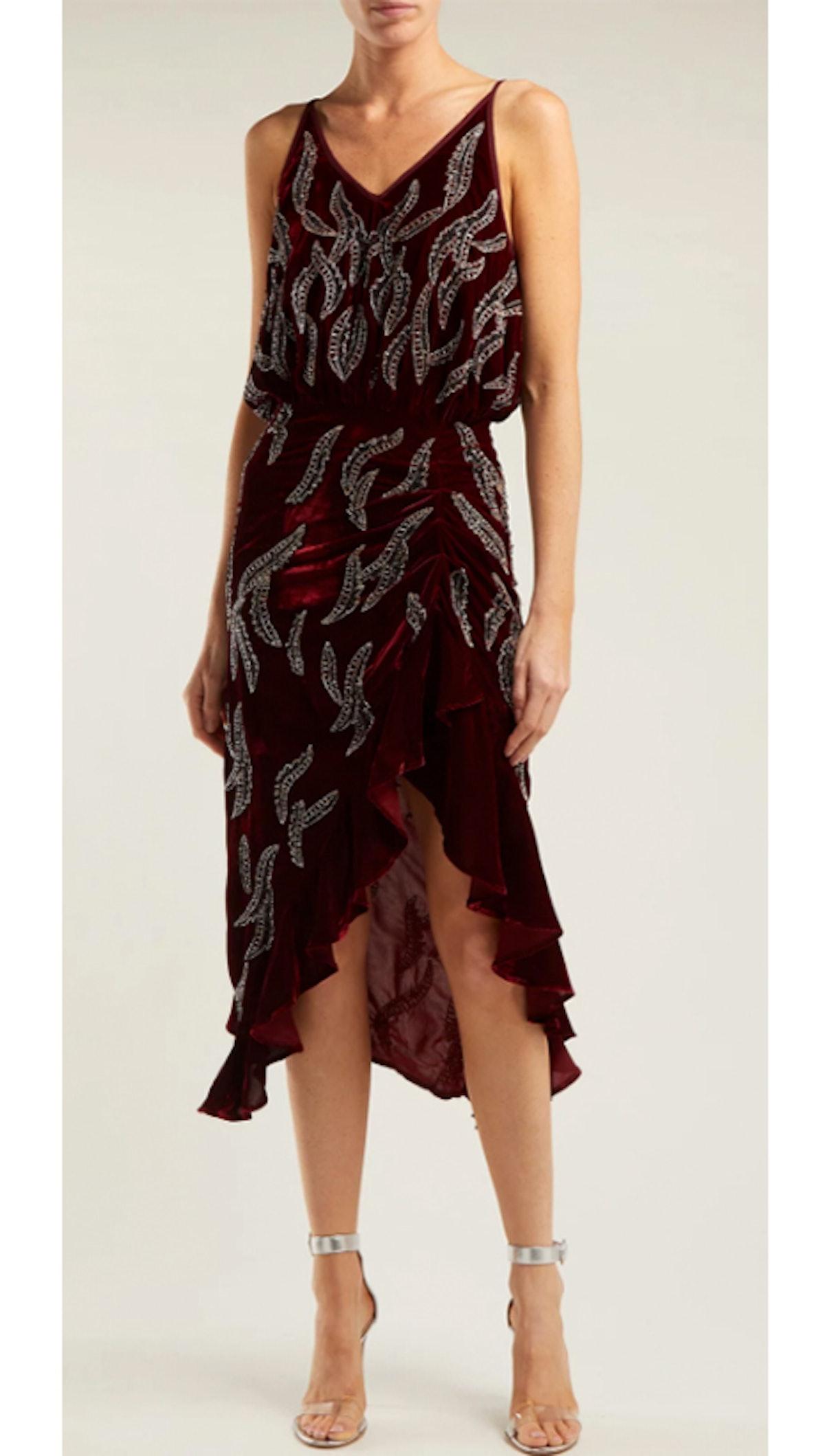 Agnes Bead-Embellished Velvet Dress