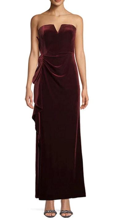 Strapless Ruched Velvet Formal Gown Dress