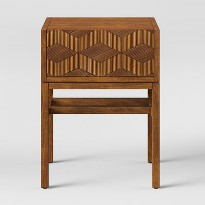 Tachuri Geometric Front Accent Table Brown