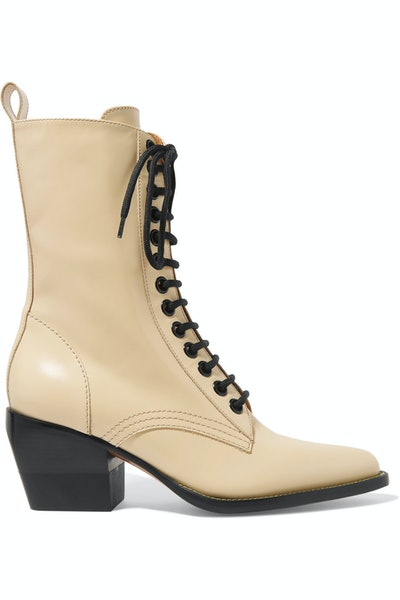 Rylee Glossed-Leather Lace-Up Boots