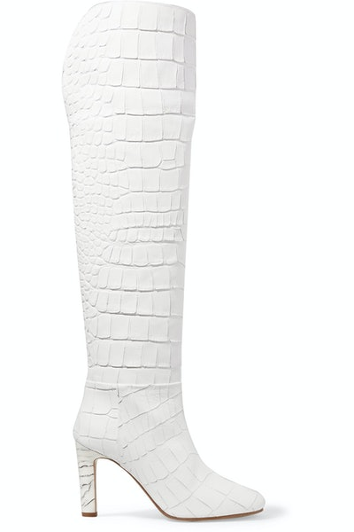 Linda Croc-Effect Leather Over-The-Knee Boot
