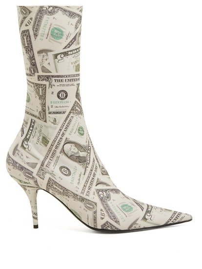 Dollar-Printed Knife Bootie