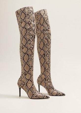 Snakeskin Effect High-Leg Boots
