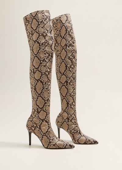 Snakeskin Effect High-Leg Boots