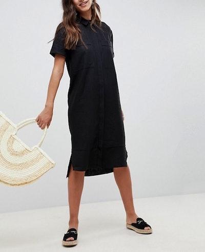 Casual Midi Shirt Dress In Linen