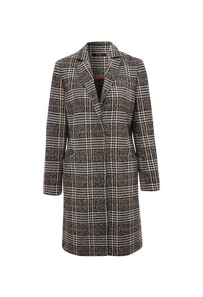 Black Check Formal Longline Coat