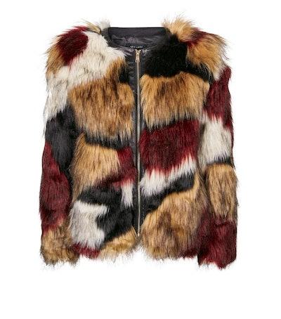 Brown Patched Faux Fur Coat