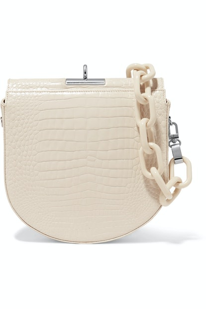 Demi-Lune Croc-Effect Leather Shoulder Bag