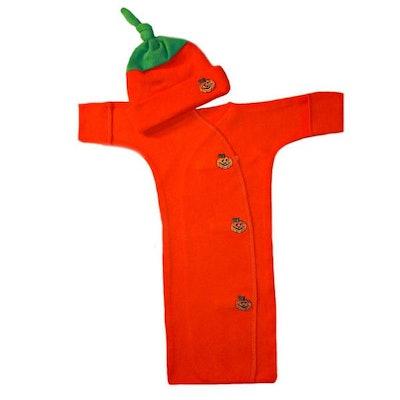 Unisex Baby Pumpkin Bunting Gown & Hat Set