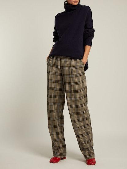 Riska Checked Virgin-Wool Trousers